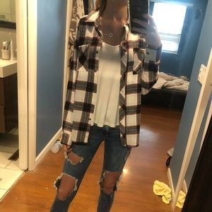 Red, white, black, and gold flannel
